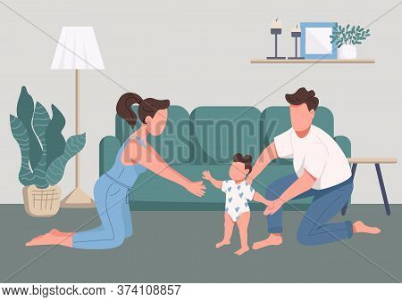 Family Happy Moments Flat Color Vector Illustration. Childcare And Parenthood. Baby First Steps. You