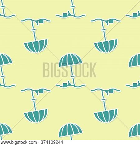 Green Sun Protective Umbrella For Beach Icon Isolated Seamless Pattern On Yellow Background. Large P