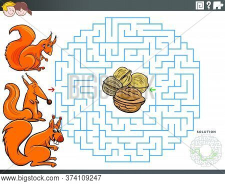 Cartoon Illustration Of Educational Maze Puzzle Game For Children With Squirrel Characters And Walnu