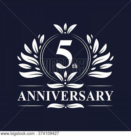 5 Years Anniversary Logo, Luxurious 5th Anniversary Design Celebration.