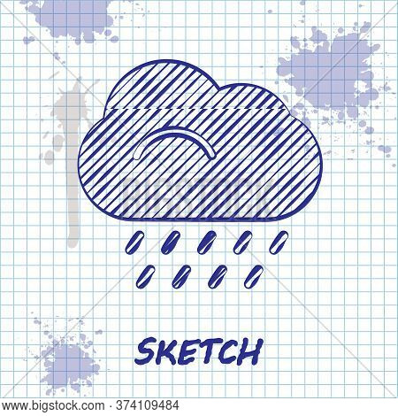 Sketch Line Cloud With Rain Icon Isolated On White Background. Rain Cloud Precipitation With Rain Dr
