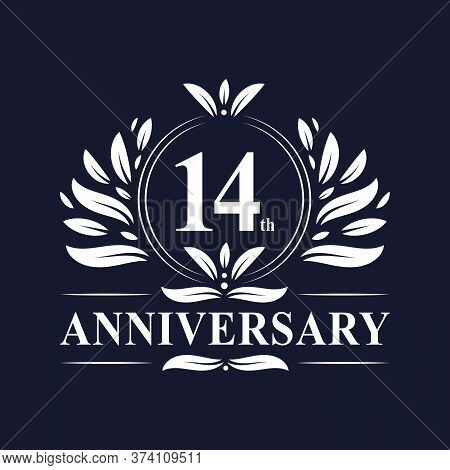 14 Years Anniversary Logo, Luxurious 14th Anniversary Design Celebration.