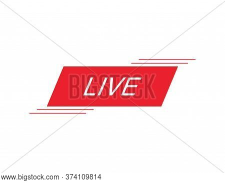 Live Stream Button. Online Broadcast Sign. Tv Streaming Icon. Media Button In Red Flat Design. Isola