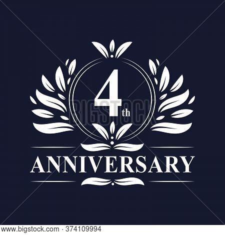 4 Years Anniversary Logo, Luxurious 4th Anniversary Design Celebration.