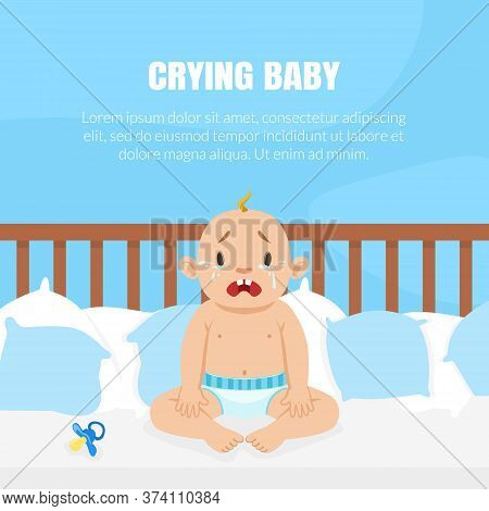 Crying Baby Banner With Place For Text, Cute Little Baby In Diaper Sitting In The Bed And Crying Vec
