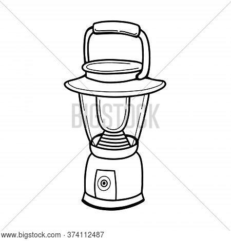 Portable Camping Flashlight. Spare Light Source. Battery-powered Flashlight. Vector Illustration In