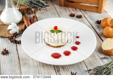 Sweet Dessert Strawberry Cheesecake Jam And Mascarpone On A White Plate, Horizontal