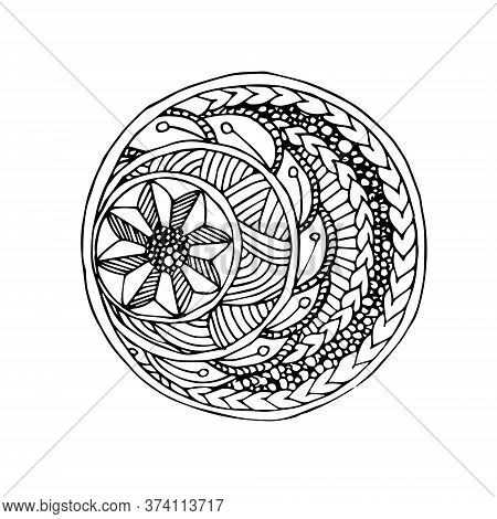 Monochrome Hand Drawn Doodle Art Design Element Stock Vector Illustration For Web, For Print, For Fa