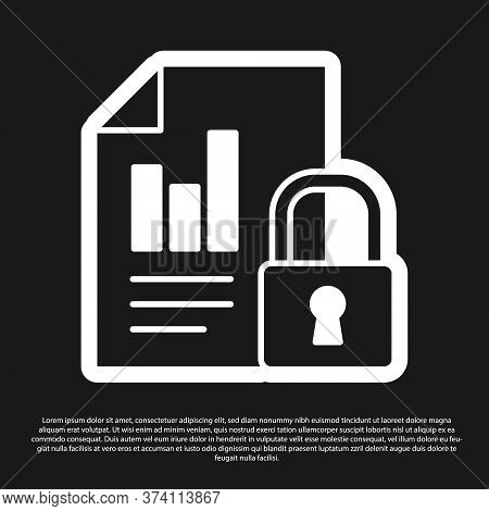 Black Document And Lock Icon Isolated On Black Background. File Format And Padlock. Security, Safety