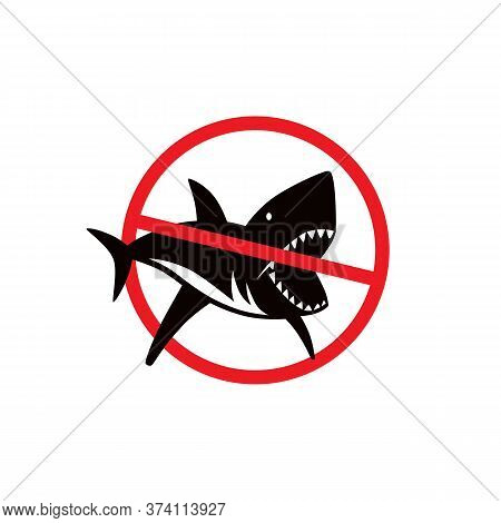 Shark Dangerous Emblem. No Shark Sign. Color Print On White Background