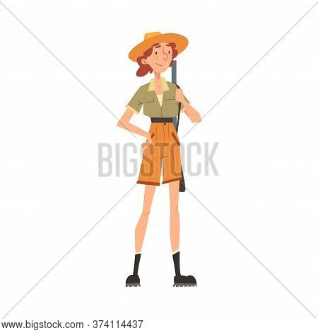 Girl Forest Ranger With Rifle, National Park Service Employee Character In Uniform Cartoon Style Vec