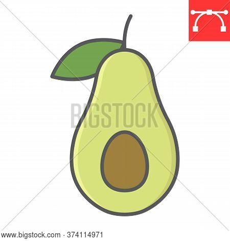 Avocado Color Line Icon, Food And Keto Diet, Avocado Sign Vector Graphics, Editable Stroke Colorful