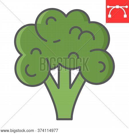 Broccoli Color Line Icon, Food And Keto Diet, Broccoli Sign Vector Graphics, Editable Stroke Colorfu
