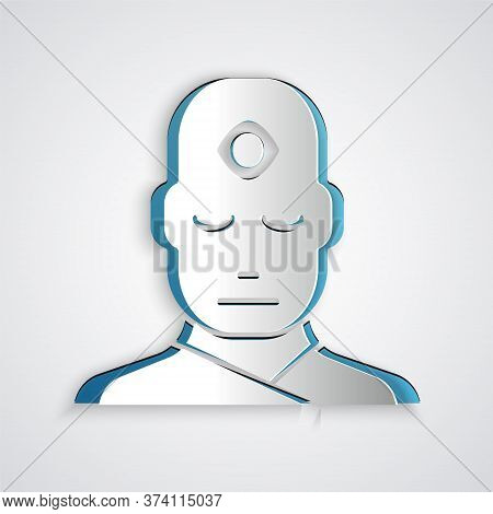Paper Cut Man With Third Eye Icon Isolated On Grey Background. The Concept Of Meditation, Vision Of