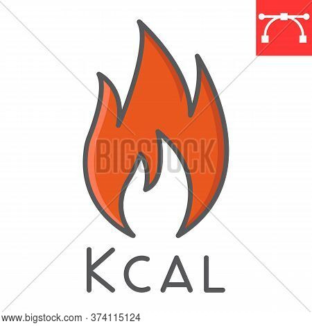 Calories Burn Color Line Icon, Fitness And Keto Diet, Fire Sign Vector Graphics, Editable Stroke Col