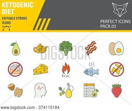 Keto Diet Color Line Icon Set, Ketogenic Symbols Collection, Vector Sketches, Logo Illustrations, Ke