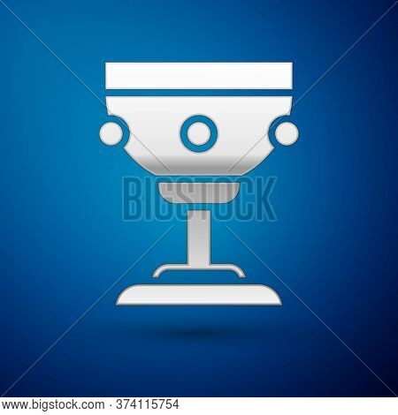 Silver Christian Chalice Icon Isolated On Blue Background. Christianity Icon. Happy Easter. Vector I