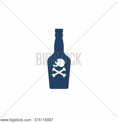 Bottle Poison Alcohol Skull Side View For Concept Design. Dangerous Container. Potion Beverage Bar D