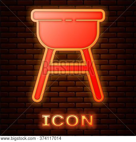 Glowing Neon Barbecue Grill Icon Isolated On Brick Wall Background. Bbq Grill Party. Vector Illustra