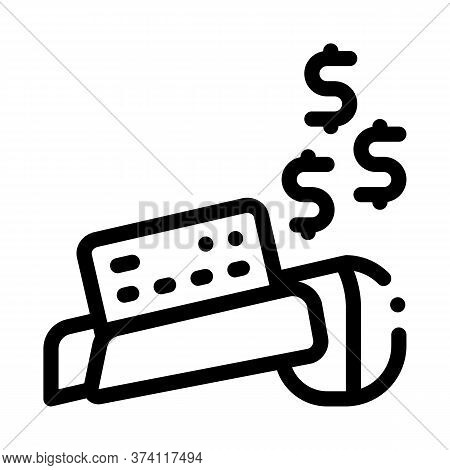 Pos Terminal Card Payment Icon Vector. Pos Terminal Card Payment Sign. Isolated Contour Symbol Illus