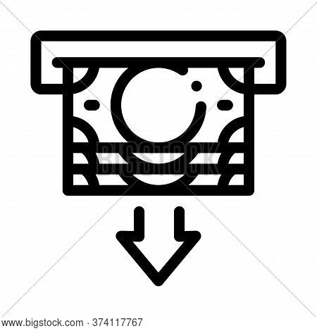Receiving Money From Atm Icon Vector. Receiving Money From Atm Sign. Isolated Contour Symbol Illustr