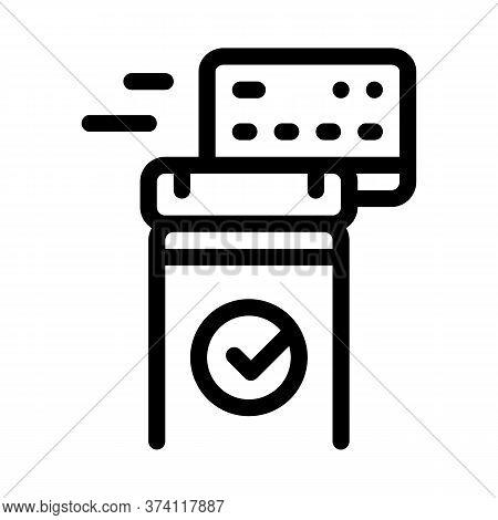 Pos Terminal Approved Card Icon Vector. Pos Terminal Approved Card Sign. Isolated Contour Symbol Ill