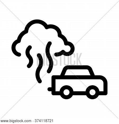 Car Smog Smoke Icon Vector. Car Smog Smoke Sign. Isolated Contour Symbol Illustration