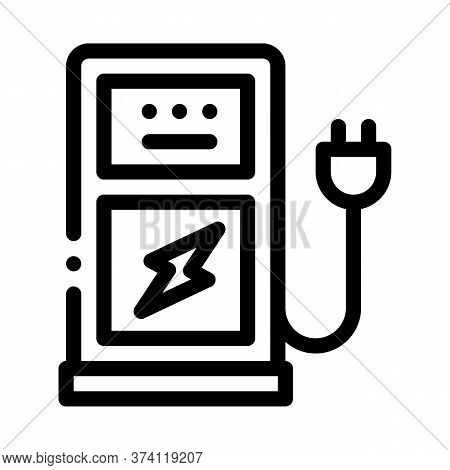 Electro Car Charge Station Icon Vector. Electro Car Charge Station Sign. Isolated Contour Symbol Ill