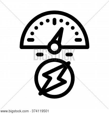 Electro Car Charge Sensor Icon Vector. Electro Car Charge Sensor Sign. Isolated Contour Symbol Illus