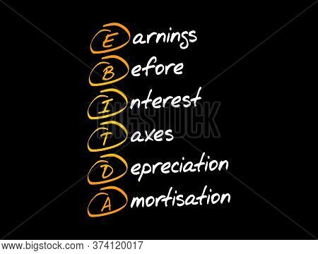 Ebitda - Earnings Before Interest, Taxes, Depreciation, Amortization Acronym, Business Concept Backg