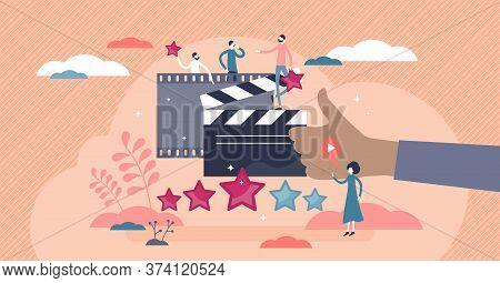 Movie Review As Cinema Film Feedback Criticism In Flat Tiny Persons Concept Vector Illustration. Sta