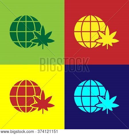 Pop Art Legalize Marijuana Or Cannabis Globe Symbol Icon Isolated On Color Background. Hemp Symbol.