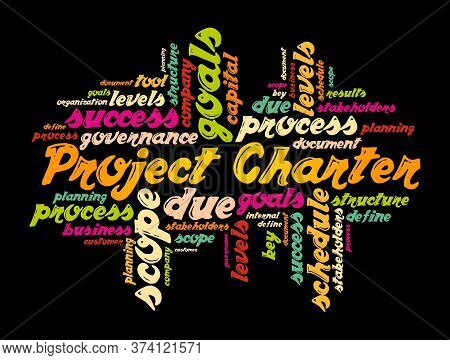Project Charter Word Cloud Collage, Business Terms Such As Method, Process, Leads Concept Background