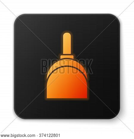 Orange Glowing Neon Dustpan Icon Isolated On White Background. Cleaning Scoop Services. Black Square