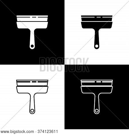 Set Cleaning Service With Of Rubber Cleaner For Windows Icon Isolated On Black And White Background.