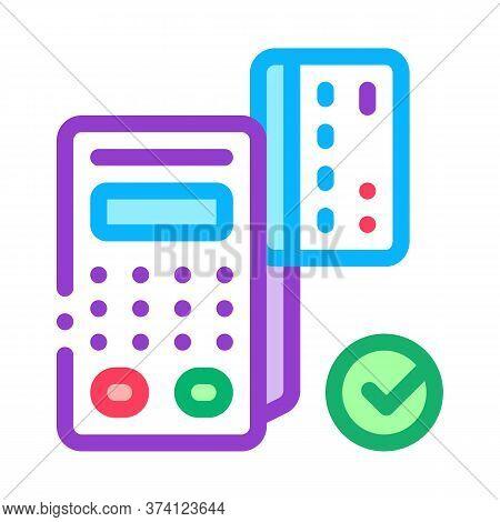 Card Pos Terminal Icon Vector. Card Pos Terminal Sign. Color Symbol Illustration