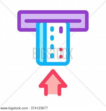 Card Insert In Bank Terminal Icon Vector. Card Insert In Bank Terminal Sign. Color Symbol Illustrati