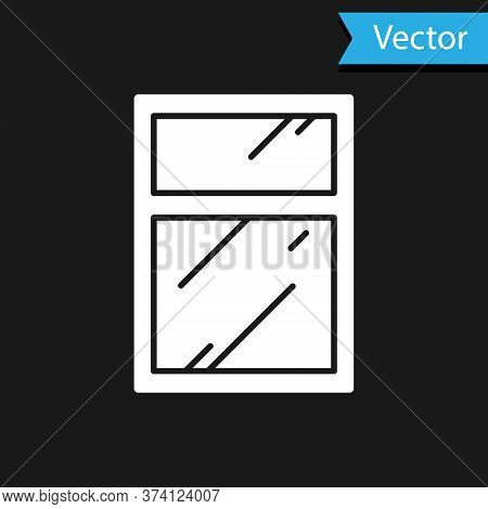 White Cleaning Service For Windows Icon Isolated On Black Background. Squeegee, Scraper, Wiper. Vect