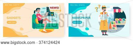 Girl Reading News On Digital Gadget At Home. Man At Newsstand Reading Morning Newspaper. Business Ne