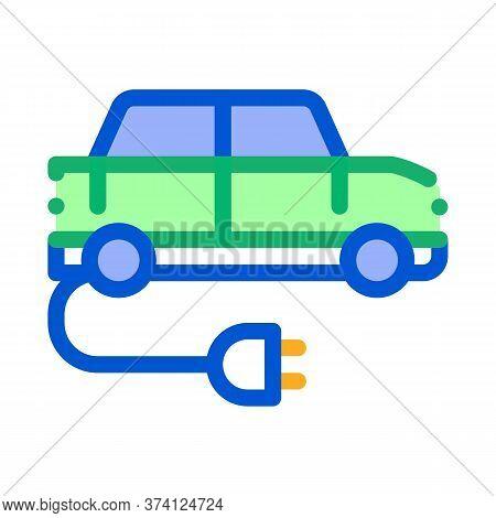 Electro Car Charging Socket Icon Vector. Electro Car Charging Socket Sign. Color Symbol Illustration