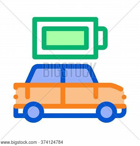 Electro Car Full Battery Icon Vector. Electro Car Full Battery Sign. Color Symbol Illustration
