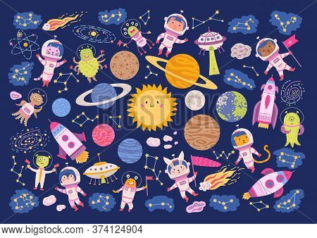 Big Set Of Animal Astronauts In Space