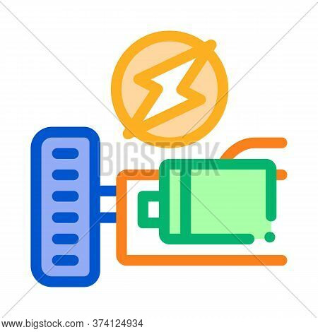 Electro Car Engine Icon Vector. Electro Car Engine Sign. Color Symbol Illustration