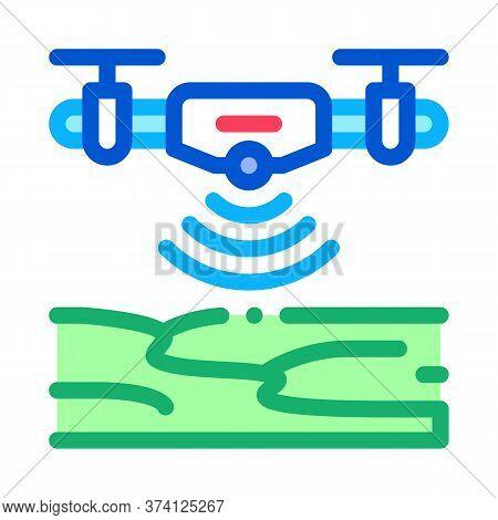 Drone Height Sensor Icon Vector. Drone Height Sensor Sign. Color Symbol Illustration