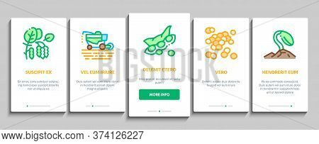 Soy Bean Food Product Onboarding Mobile App Page Screen Vector. Agricultural Harvester Harvesting On