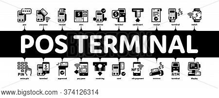 Pos Terminal Device Minimal Infographic Web Banner Vector. Bank Terminal And Atm, Smartphone Nfc Pay