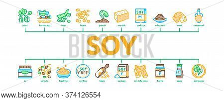 Soy Bean Food Product Minimal Infographic Web Banner Vector. Agricultural Harvester Harvesting On Fa