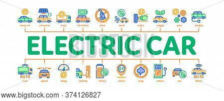 Electric Car Transport Minimal Infographic Web Banner Vector. Electrical Car And Truck, Battery Char
