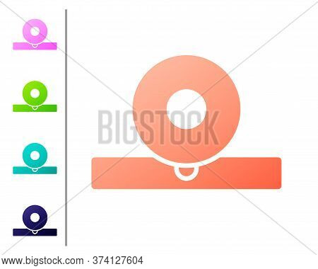 Coral Otolaryngological Head Reflector Icon Isolated On White Background. Equipment For Inspection T