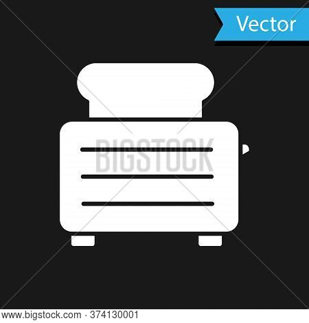 White Toaster With Toasts Icon Isolated On Black Background. Vector Illustration